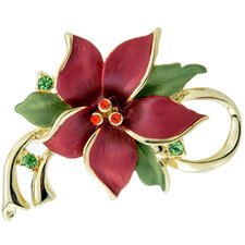 Poinsettia Christmas Star Flower Crystal Pin Brooch Pendant