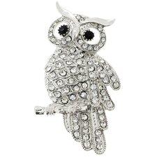 Owl Bird Crystal Brooch