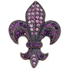Fleur-De-Lis Symbol Crystal Brooch Pendant