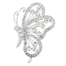 Flying Butterfly Crystal Brooch Pendant