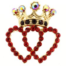 <strong>Fantasyard</strong> Double Heart Crown Lapel Crystal Brooch