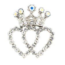 Double Heart Crown Lapel Crystal Brooch