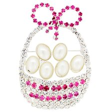 Cultured Pearl Easter Basket Crystal Brooch