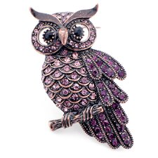 Owl Crystal Pin Brooch