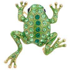Frog Animal Perovskia Crystal Brooch