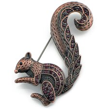 Squirrel Animal Crystal Pin Brooch