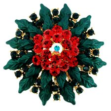 Christmas Poinsettia Christmas Flower Christmas Crystal Pin Brooch