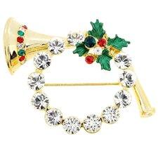 Christmas Wreath Horn Crystal Brooch