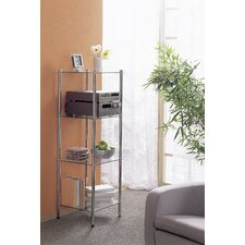 Maximo Stand Shelf in Chrome with Glass Tray