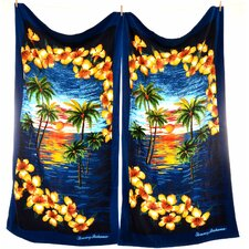 Island Vignette Beach Towel (Set of 2)