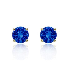 14K Round Cut Cubic Zirconia Stud Earrings
