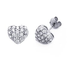 14K Heart Cut Cubic Zirconia Stud Earrings