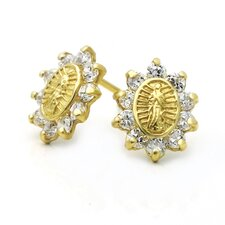 <strong>Double Accent</strong> 14K Our Lady Of Guadalupe Cubic Zirconia Stud Earrings
