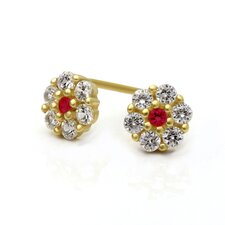 <strong>Double Accent</strong> 14K Cluster Cubic Zirconia Stud Earrings