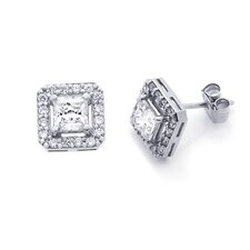 <strong>Double Accent</strong> 14K Princess Cut Cubic Zirconia Stud Earrings