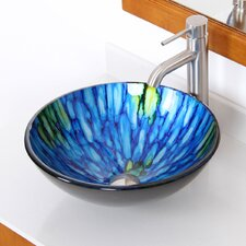 <strong>Elite Home Products</strong> Double Layered Glass Bowl Bathroom Sink