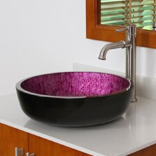<strong>Elite Home Products</strong> Double Layered Round Glass Flat Bottom Vessel Bathroom Sink