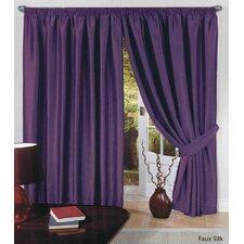 Faux Silk (Slub) Lined Tape Curtain Set and Tieback (Set of 2)
