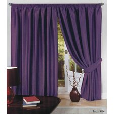 Faux Silk (Slub) Lined Tape Curtain and Tieback (Set of 2)
