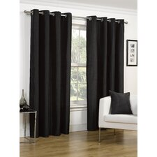 Faux Silk - Eyelet Lined Ring Top Curtain Set (Set of 2)