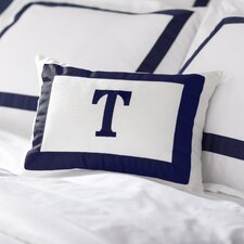 Celina Monogram Pillow, Navy & White