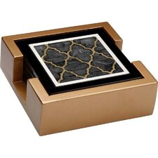 <strong>Thirstystone</strong> 5 Piece Mother of Pearl Ebony Ambiance Coaster Gift Set