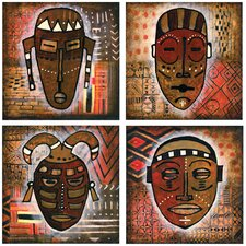 4 Piece Tribal Mask Occasions Coasters Set