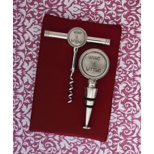 2 Piece Wine a Little Cork Screw Stopper Set