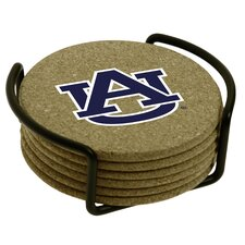 7 Piece Auburn University Cork Collegiate Coaster Gift Set