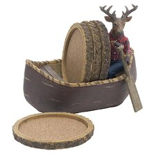 <strong>Thirstystone</strong> 5 Piece Deer in Canoe Ceramic Coaster Gift Set
