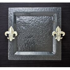Fleur de Lis Glass Square Serving Tray