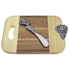 Bamboo Grapes Mini Serve Board with Spreader