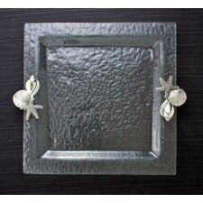 Shells Glass Square Serving Tray