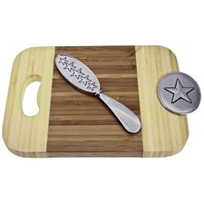 Bamboo Western Star Mini Serve Board with Spreader