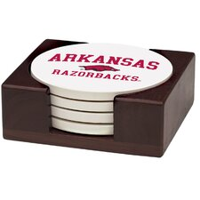 5 Piece University of Arkansas Wood Collegiate Coaster Gift Set