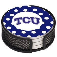 5 Piece Texas Christian University Dots Collegiate Coaster Gift Set