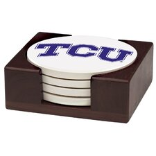 5 Piece Texas Christian University Wood Collegiate Coaster Gift Set