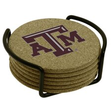 7 Piece Texas A & M University Cork Collegiate Coaster Gift Set