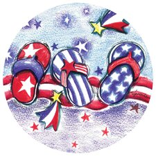 Americana Flip Flops Occasions Coaster (Set of 4)