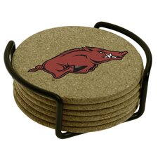 7 Piece University of Arkansas Cork Collegiate Coaster Gift Set
