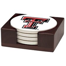 5 Piece Texas Tech University Wood Collegiate Coaster Gift Set