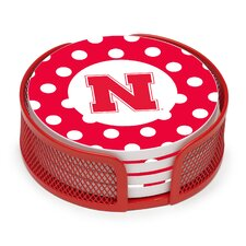 5 Piece University of Nebraska Dots Collegiate Coaster Gift Set