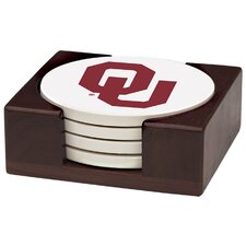 5 Piece University of Oklahoma Wood Collegiate Coaster Gift Set