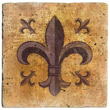 Fleur de Lis Travertine Ambiance Coaster Set (Set of 4)