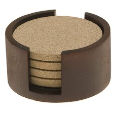 Circular Walnut Coaster Holder