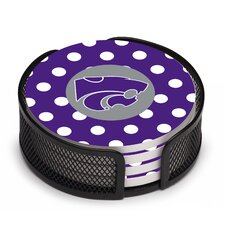 5 Piece Kansas State University Dots Collegiate Coaster Gift Set