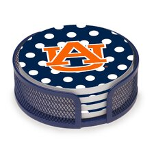 5 Piece Auburn University Dots Collegiate Coaster Gift Set