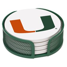 5 Piece University of Miami Collegiate Coaster Gift Set
