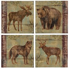 4 Piece Northern Wildlife Occasions Coasters Set