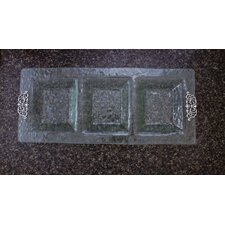 Scroll Glass 3-Section Rectangular Serving Tray